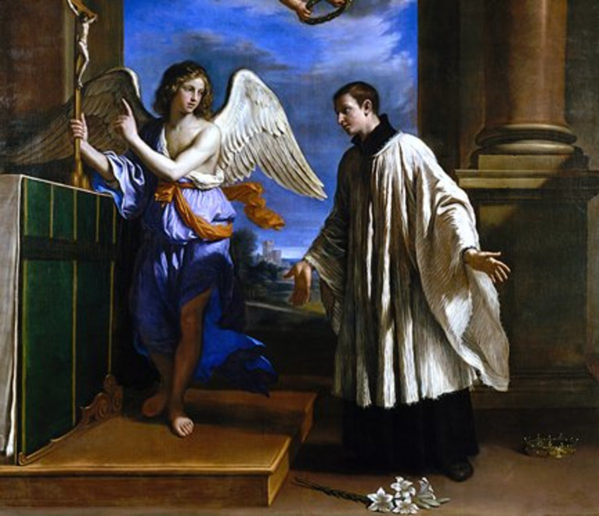 This allegorical painting by Guercino depicts St. Aloysius forsaking the crown to become a Jesuit.