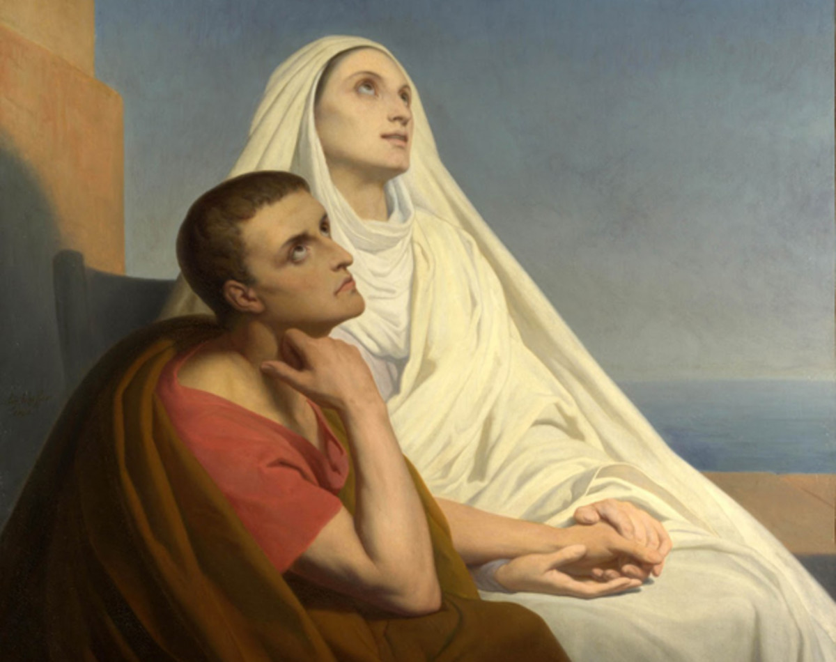 This painting by Ary Scheffer depicts Augustine with his mother, St. Monica, shortly before her death. She shed many tears for his conversion.