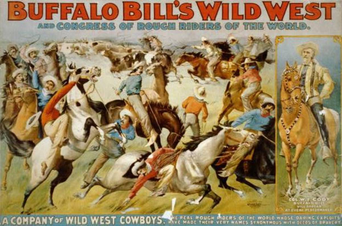 1899 Buffalo Bill's Wild West Show and Congress of Rough Riders of the World - Circus poster showing cowboys rounding up cattle and portrait of Col. W.F. Cody on horseback