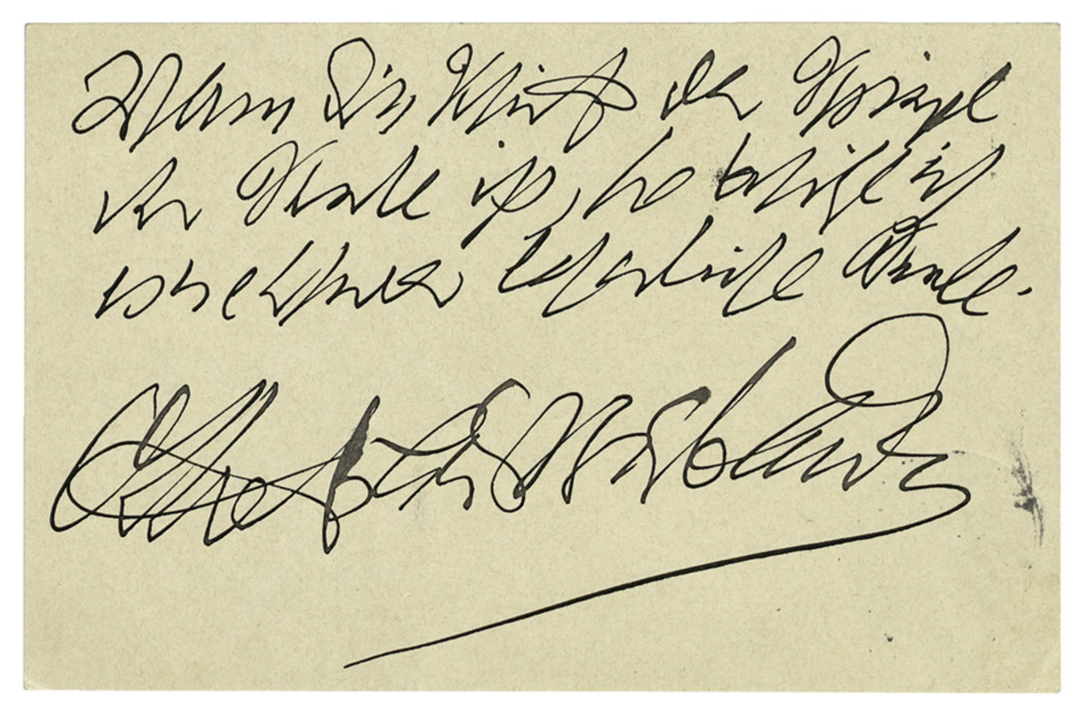 "In 1909, the German writer Otto Bierbaum mailed this postcard with a pun about graphology: ""If handwriting is a mirror of the soul, I own a hardly legible soul."""