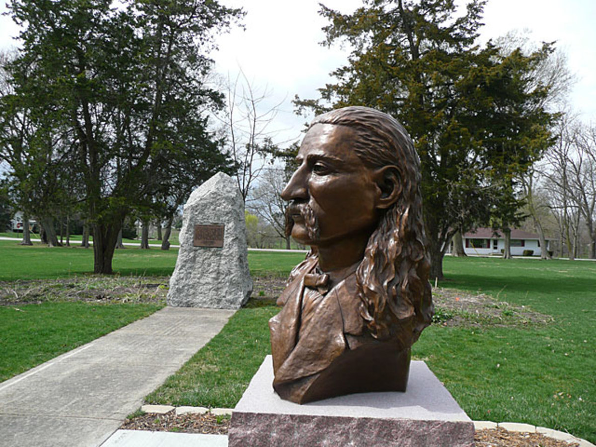 Statue of Wild Bill in the Memorial Park in Troy Grove, Illinois.