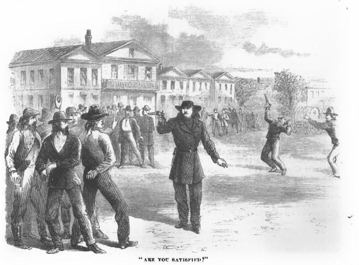 An illustration of the Springfield, Missouri, gunfight in the article Wild Bill by George Ward Nichols (Harper's New Monthly Magazine, February, 1867).