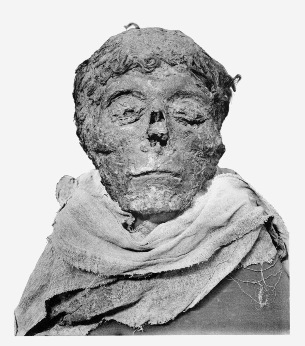 The mummified head of Egyptian pharaoh King Ahmose I.