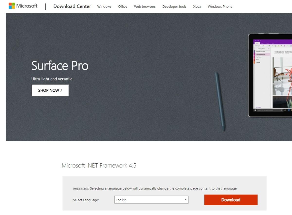 Microsoft's .NET framework download page.
