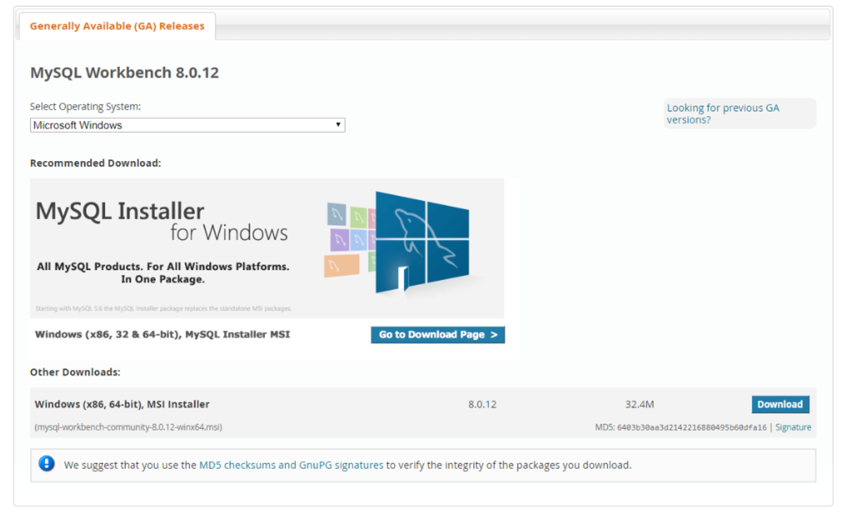 Download the Windows MSI Installer.