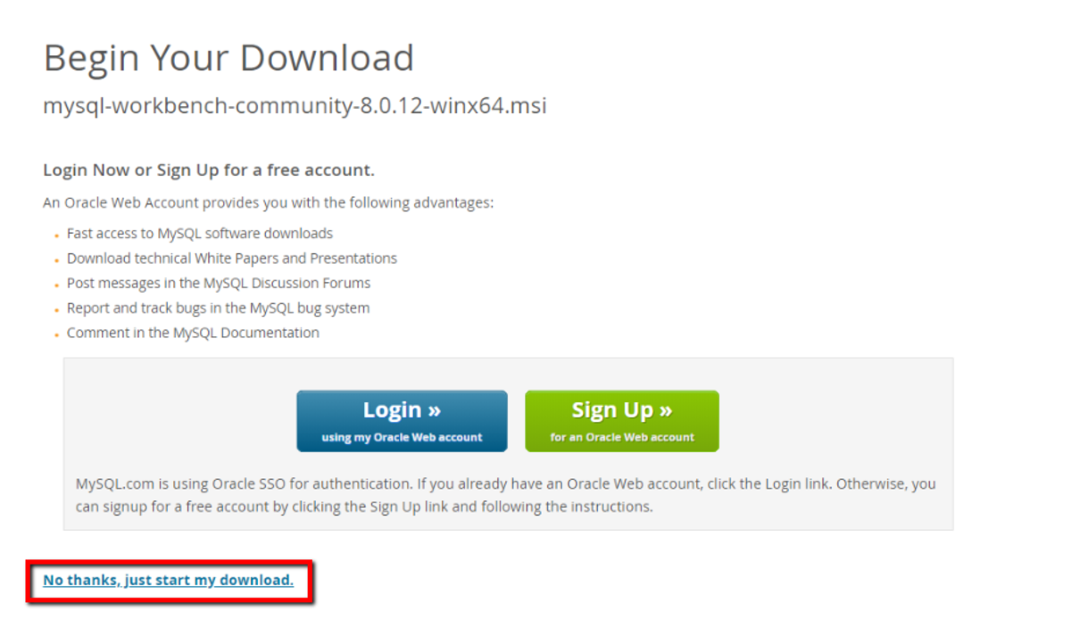 Choose the last option to download without logging in or setting up an account.