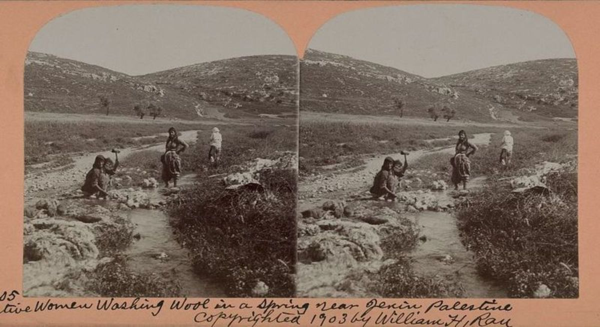 Native Women Washing Wool in a Spring Near Jenin, Palestine, a photograph by William H. Rau showing women washing wool near the city of Jenin, circa 1903.