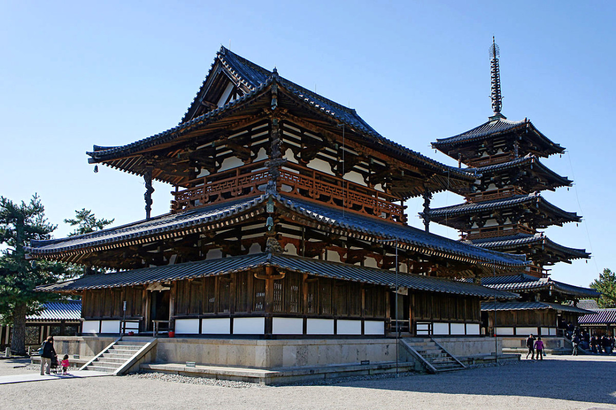 Hōryū-ji with its famed pagoda in the background.
