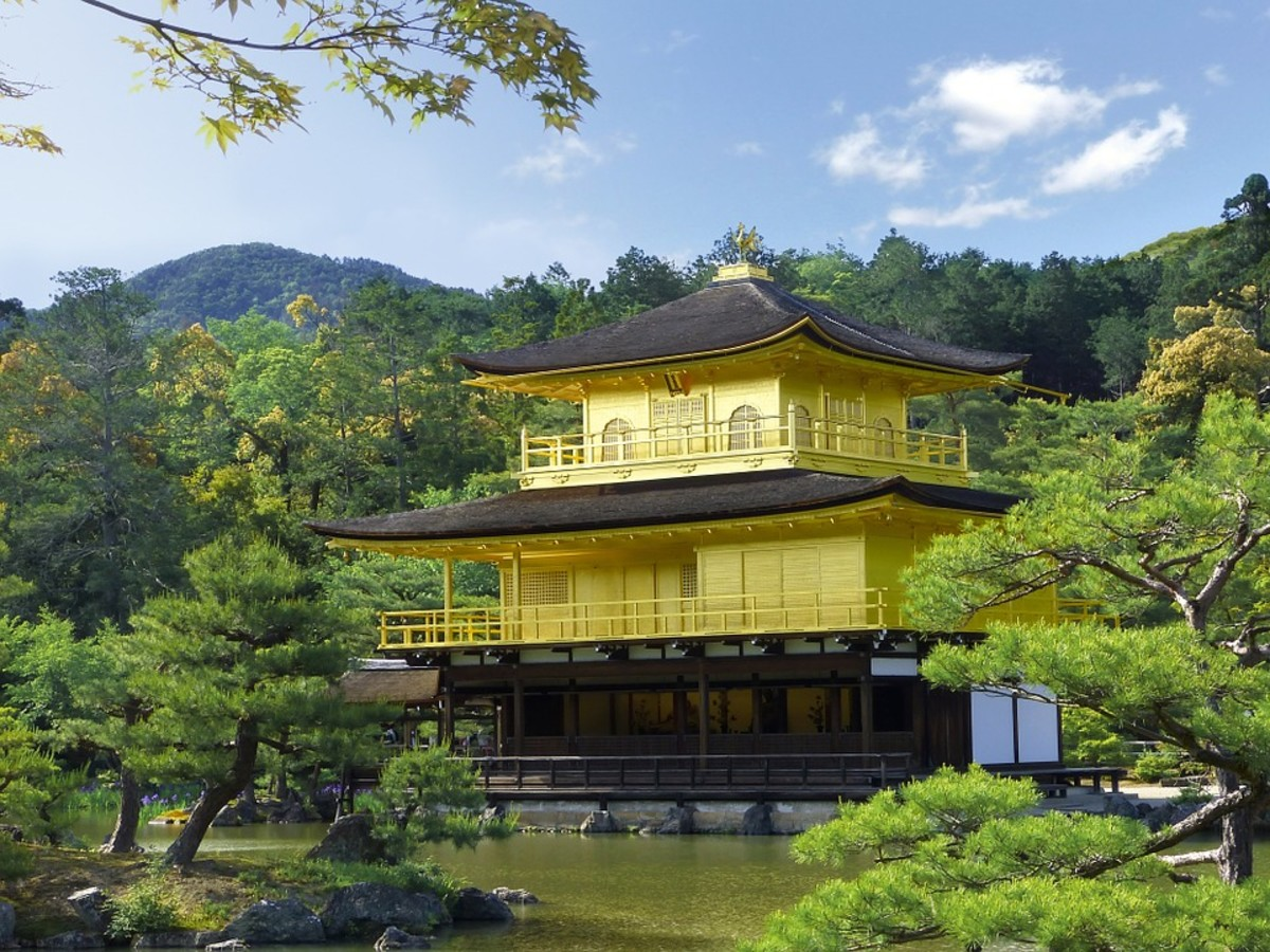 The Golden Pavilion of Kyoto. The most famous construction of the Muromachi Period of Japanese history.