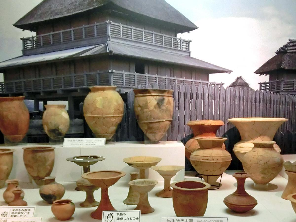 Yayoi Period pottery on display at Yoshinogari Site.