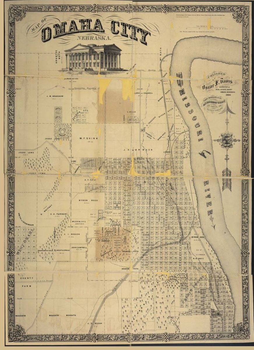 Map of Omaha City, Nebraska, 1866.  Although people know Omaha as a sleepy midwest town now, it was a true wild west outlaw town, with a strong criminal element, in its early days.