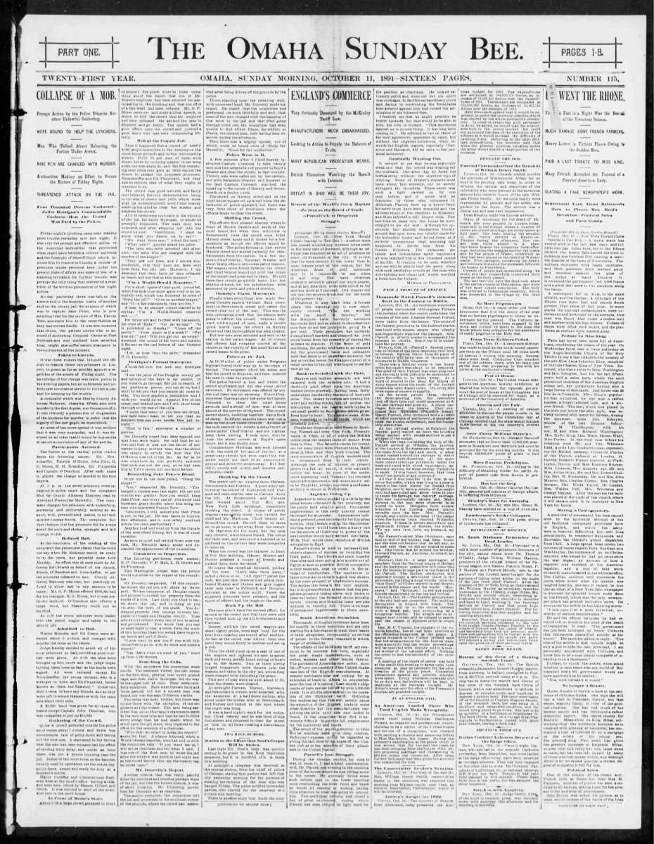 Cover of Omaha Bee, October 11, 1891, regarding lynching of George Smith.