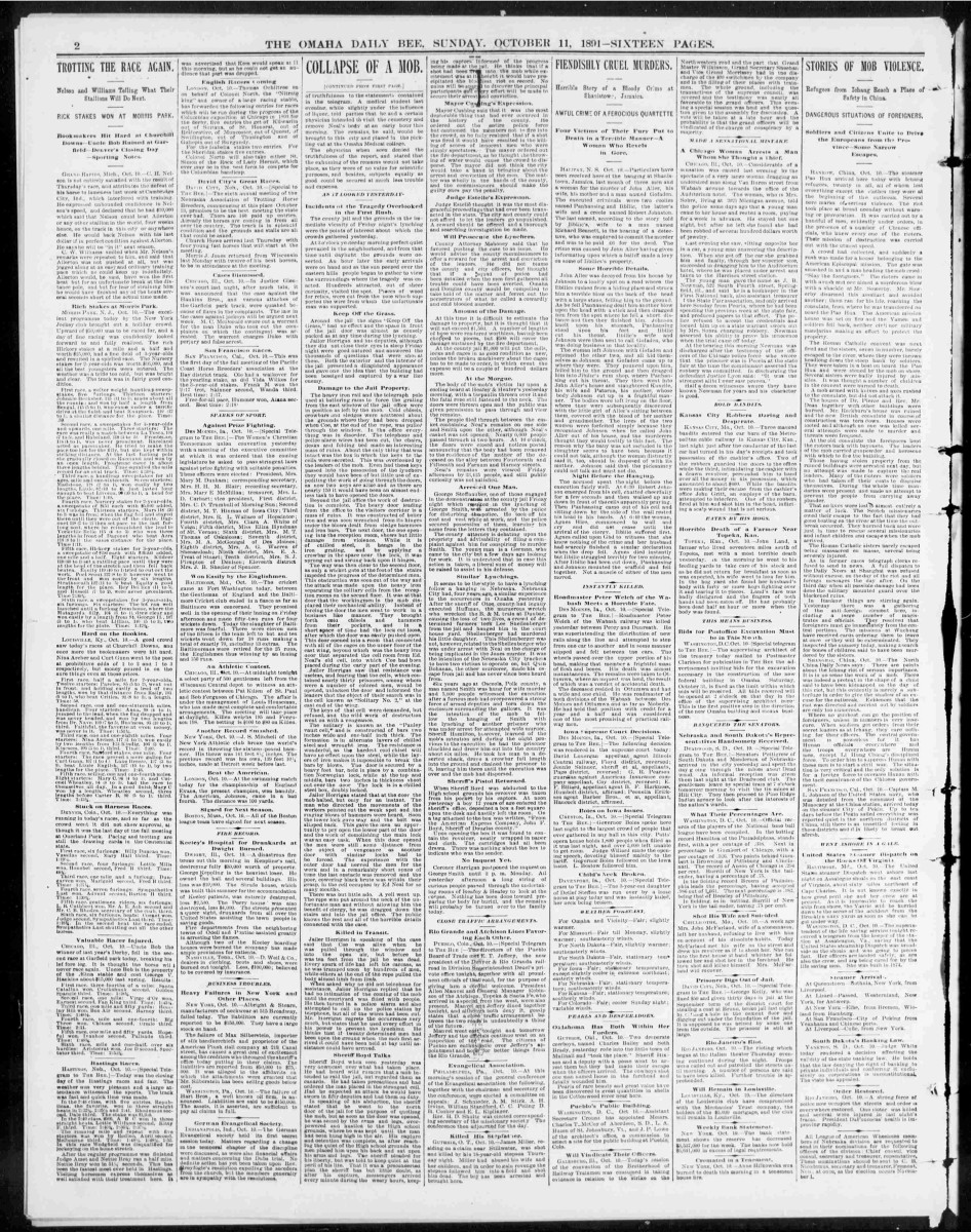 Cover of Omaha Bee, October 11, 1891, page 2, regarding lynching of George Smith.