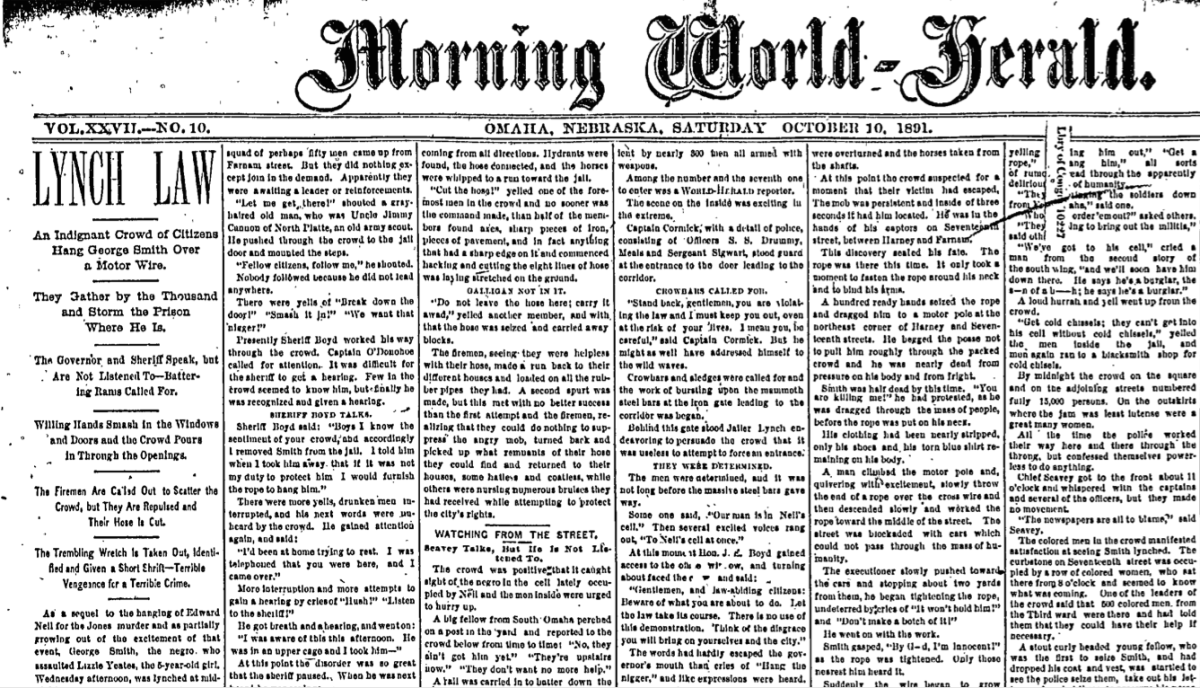 Omaha World Herald cover story on the lynching of George Smith (aka Joe Coe), Saturday, October 10, 1891.