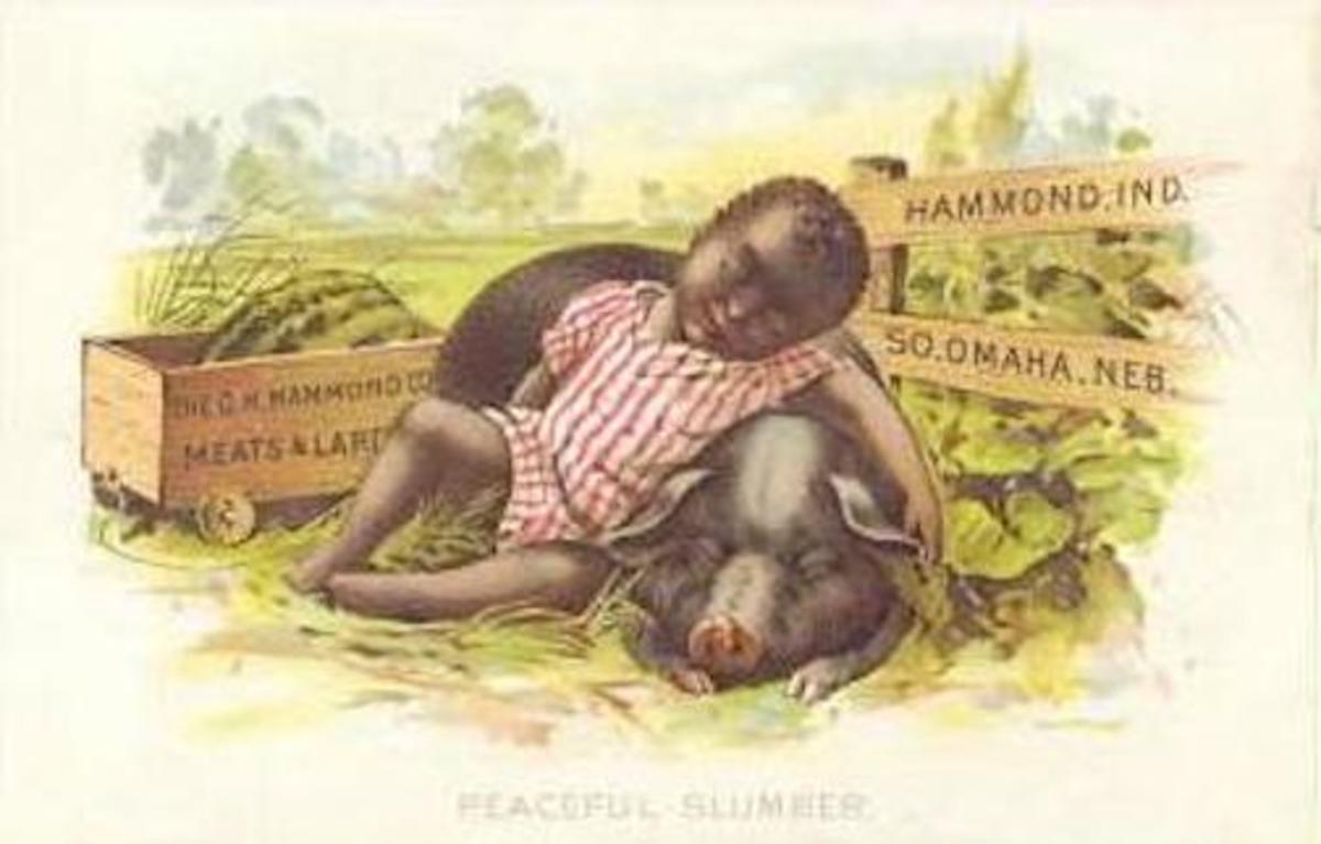 It was common for companies to use racist images in their advertising.  This postcard was from the G.M. Hammond (meat) Company, which had a packing plant in South Omaha, Nebraska.