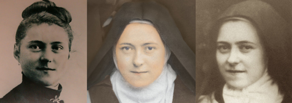 (l-r) Thérèse at 15 before entering the convent, as a mature nun, and in her last ilness