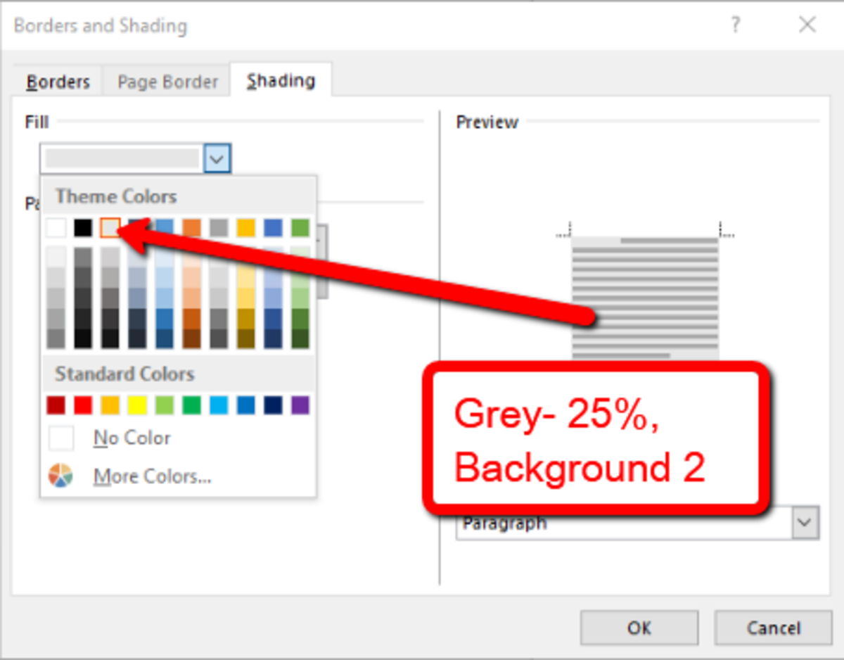 Select a light grey color for the fill.