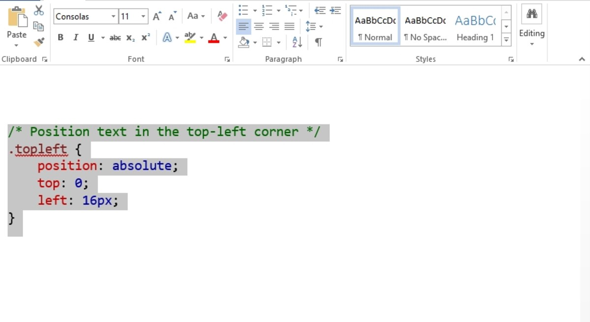 Highlight the code snippet and click right.