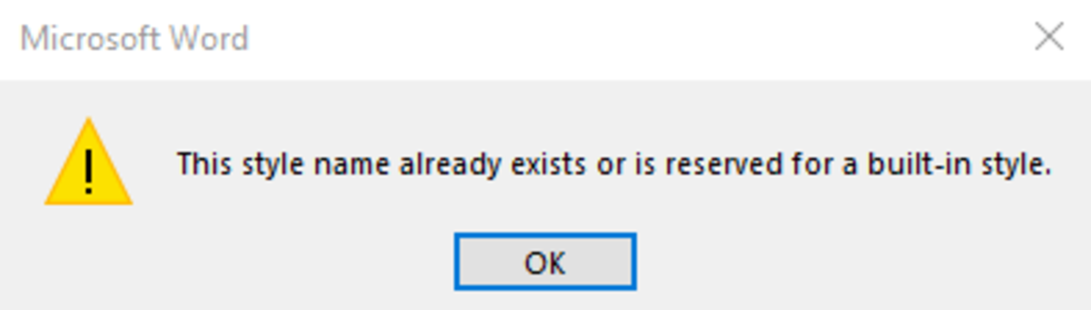 Style naming error message.