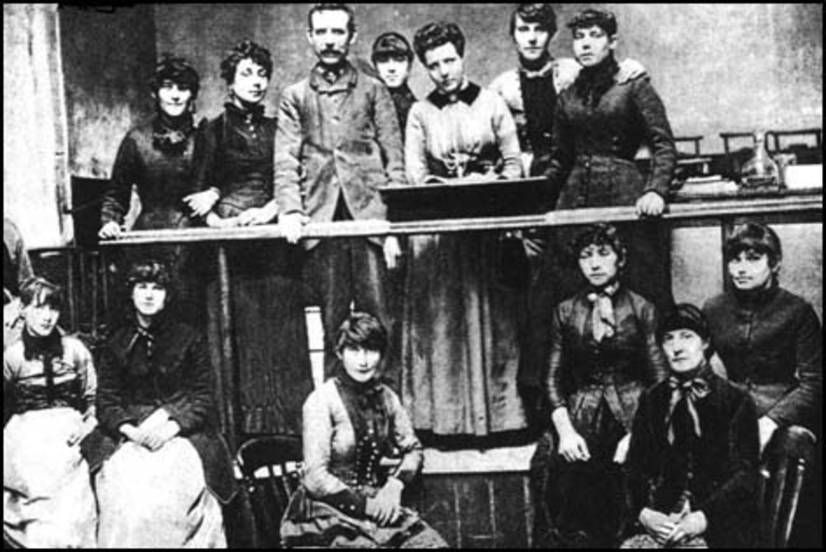 Annie Besant with the match girls strike committee in 1888.