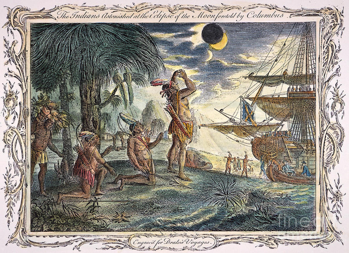 Natives of Jamaica witness the February 29th 1504 lunar eclipse