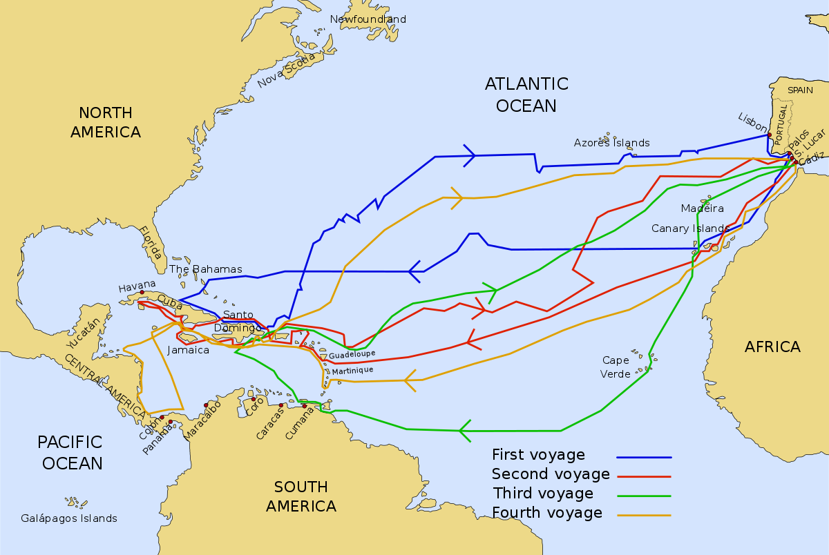 The four voyages of Christopher are mapped out in this informative graphic