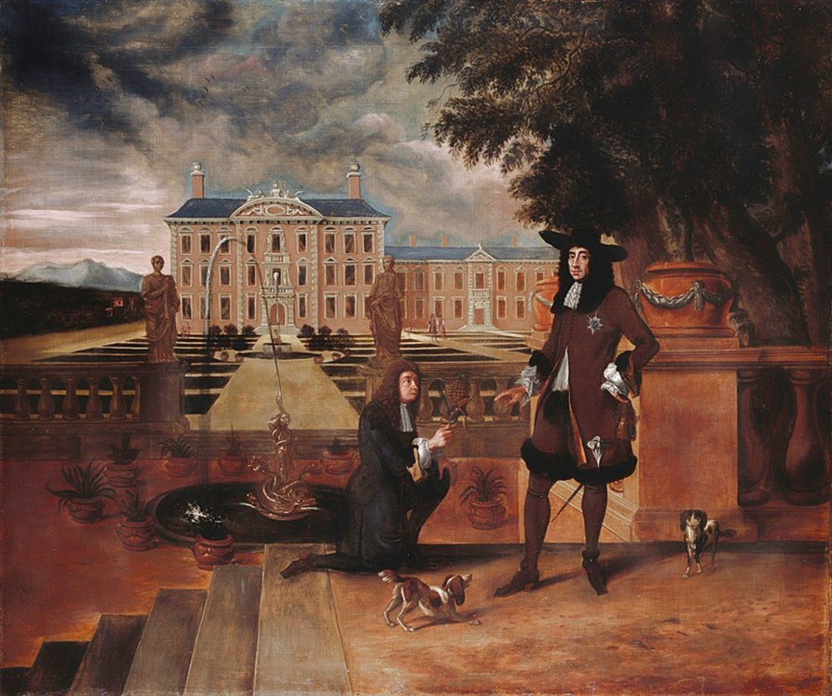 Charles II is given the first pineapple grown in England in 1675, painting by Hendrik Danckerts