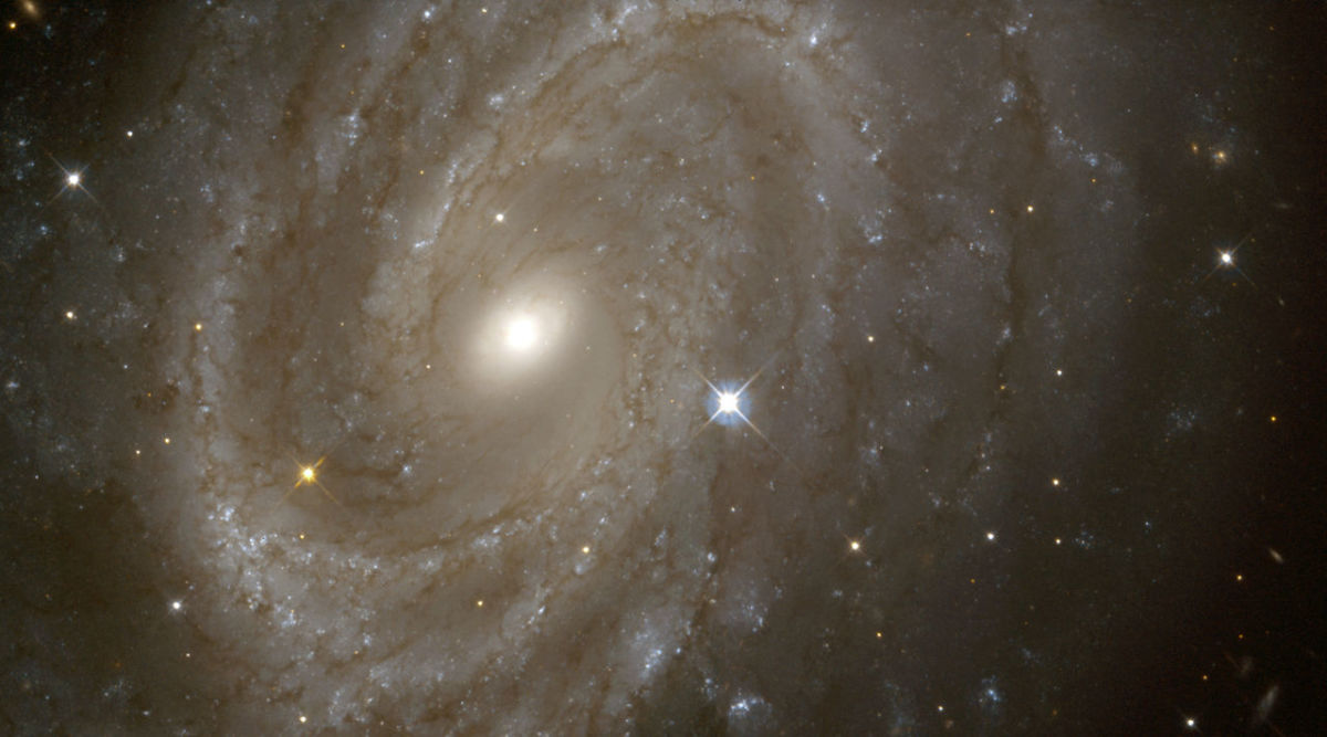 A view of a spiral galaxy from NASA Hubble Space Telescope (HST) in which variable stars have been found