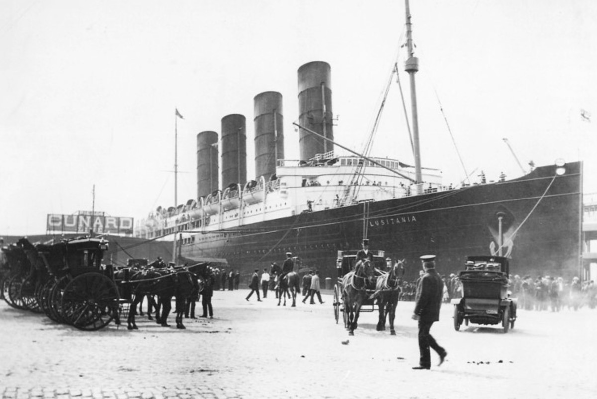 The RMS Lusitania in her glory days, before she was torpedoed by a German U-boat in 1915.