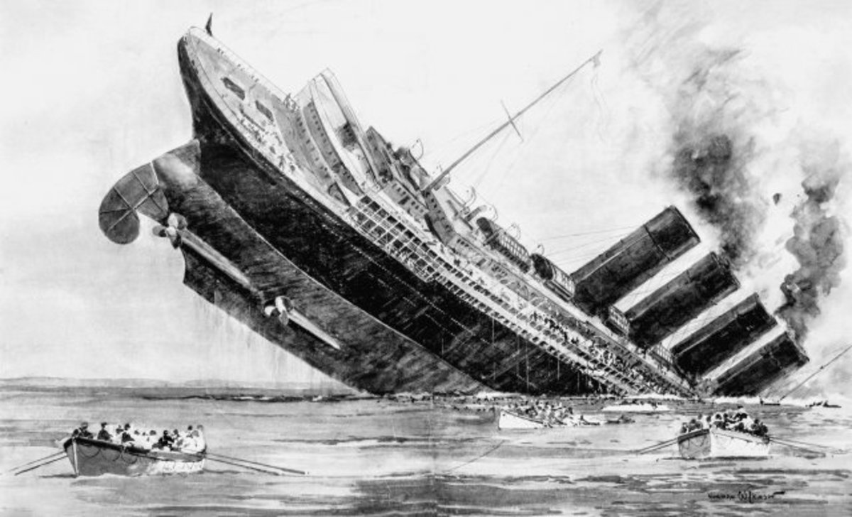 An artist's rendering of the sinking of the Titanic