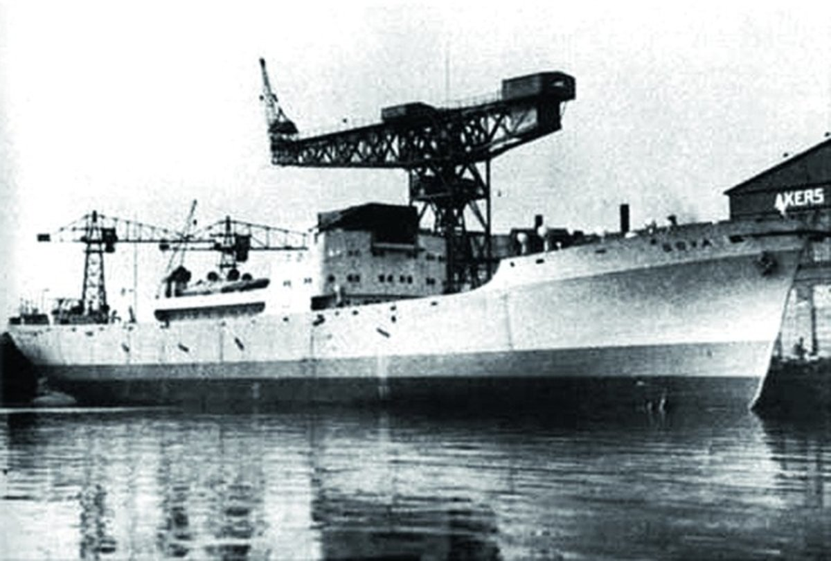 The Norwegian built MV Goya sitting in port in Oslo, shortly before she sunk in 1945 at the hands of a Soviet submarine.