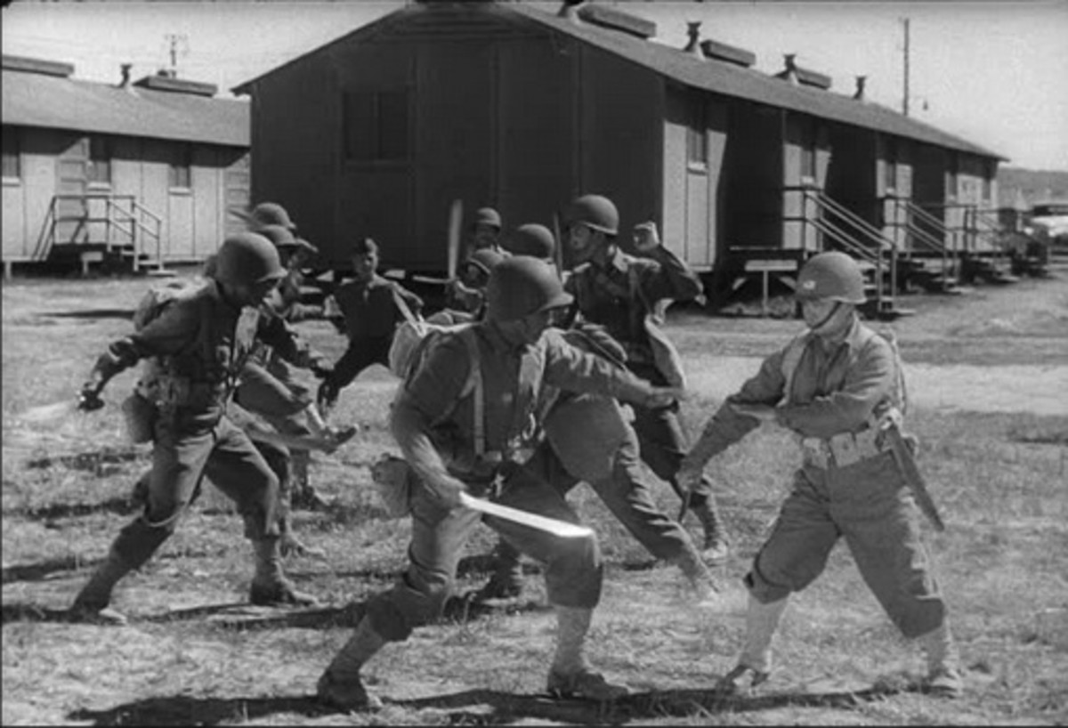 Courtesy of the U.S. Army.  Many people, martial artists included forget that martial arts forms were developed for war time situations that had no rules.  Combative sports and other applications are fine, but the roots always remain the same.