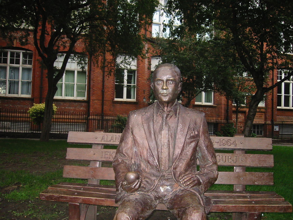 Alan Turing memorial statue in Sackville Park, 18 Sep 2004.
