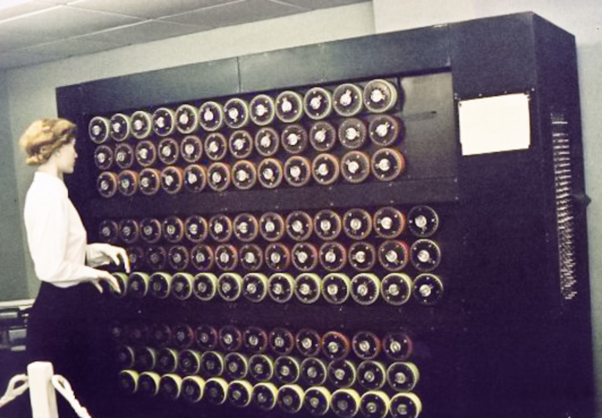 Mockup of a Bombe machine at Bletchley Park.
