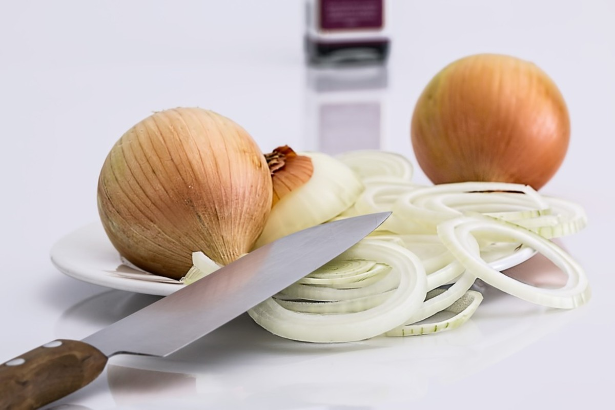 Cutting onions produces sulphur gas, which irritates the eyes and causes the release of reflex tears