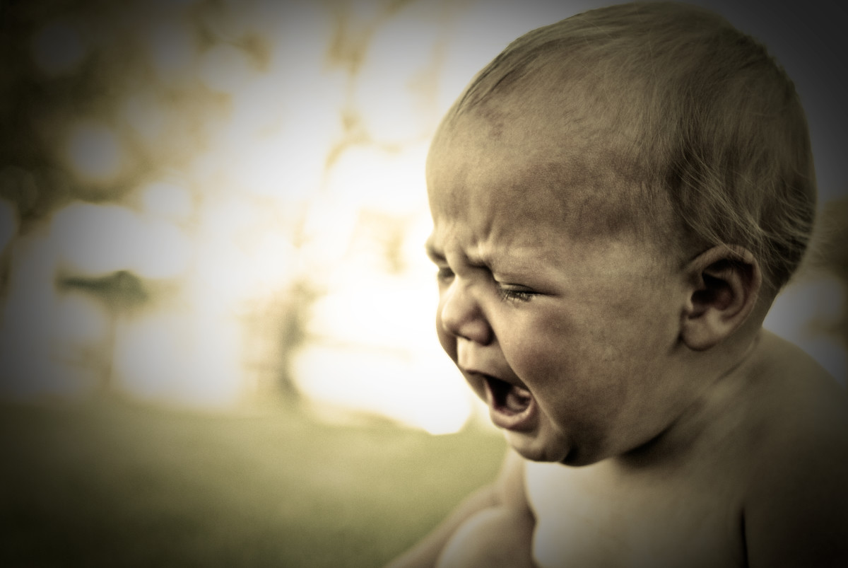 Most babies cry without tears until the age of about 2 months.
