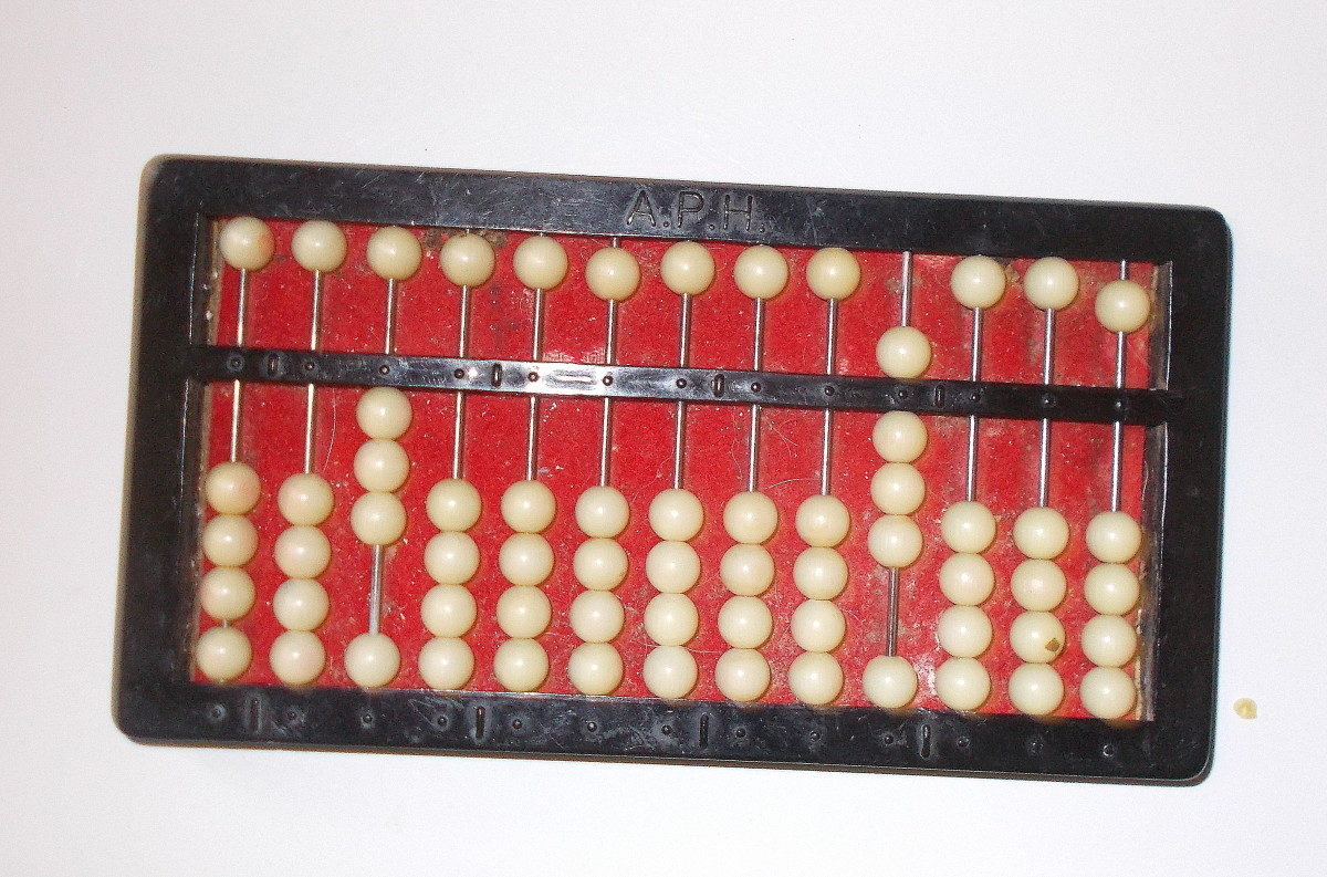 This is the fraction which is the answer for the equation ½ x ¾. The abacus is showing 3/8.