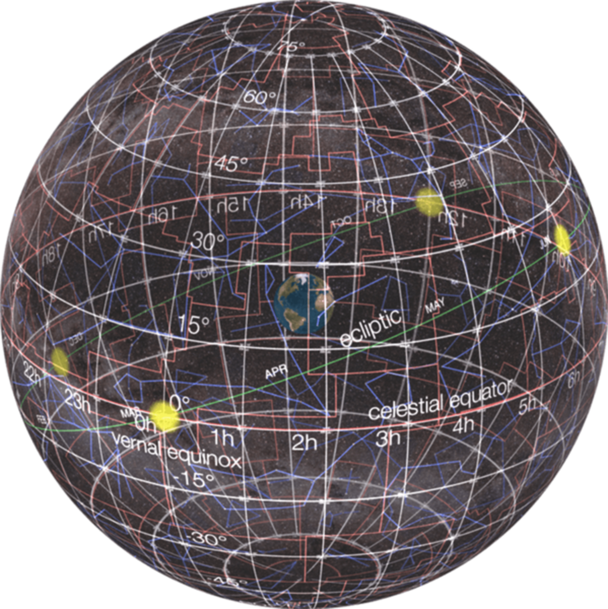 "The ""celestial sphere"" of modern astronomy showing the night sky ""wrapped around"" the earth at its center"