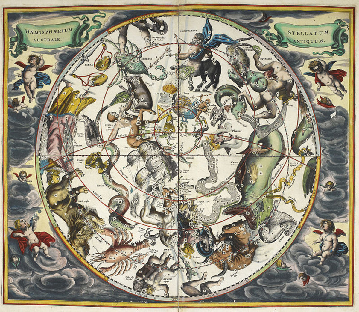 This 17th century star map from the British Museum demonstrates a mixture of scientific observation and superstition. The constellations are correctly plotted, but with additional details of astrological significance