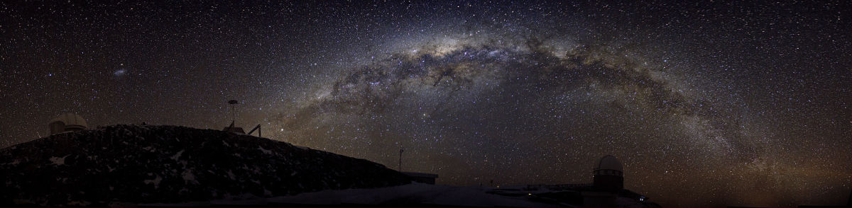 A spectacular, panoramic view of the Milky Way as seen in the night sky of the southern hemisphere from Silla Observatory in Chile
