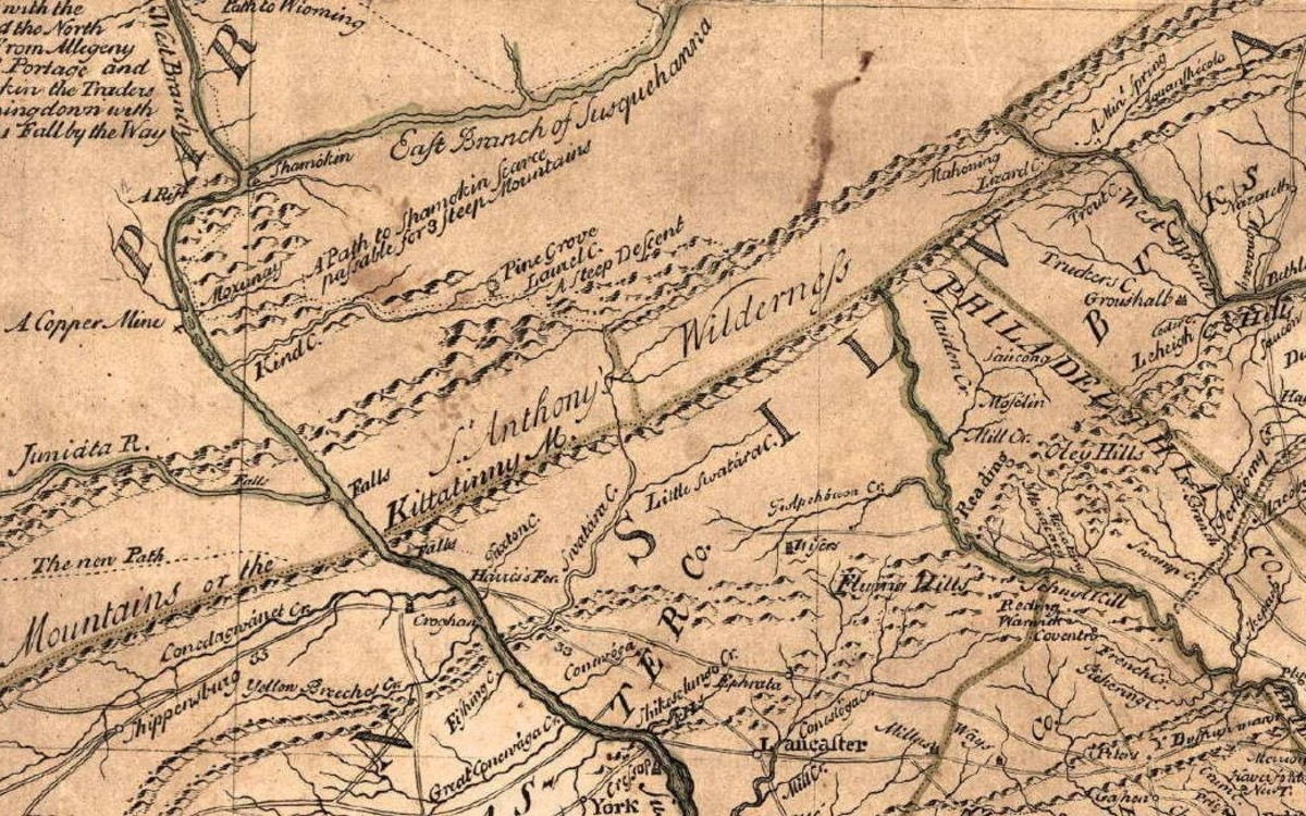 The portion of country between Blue Mountain and Peters Mountain was known at an early period by the name of St. Anthony's Wilderness as designated on a 1749 Lewis Evans map.