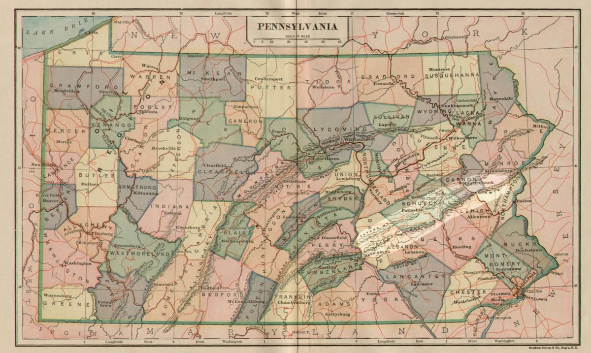 Blue Mountains of Pennsylvania (highlighted).