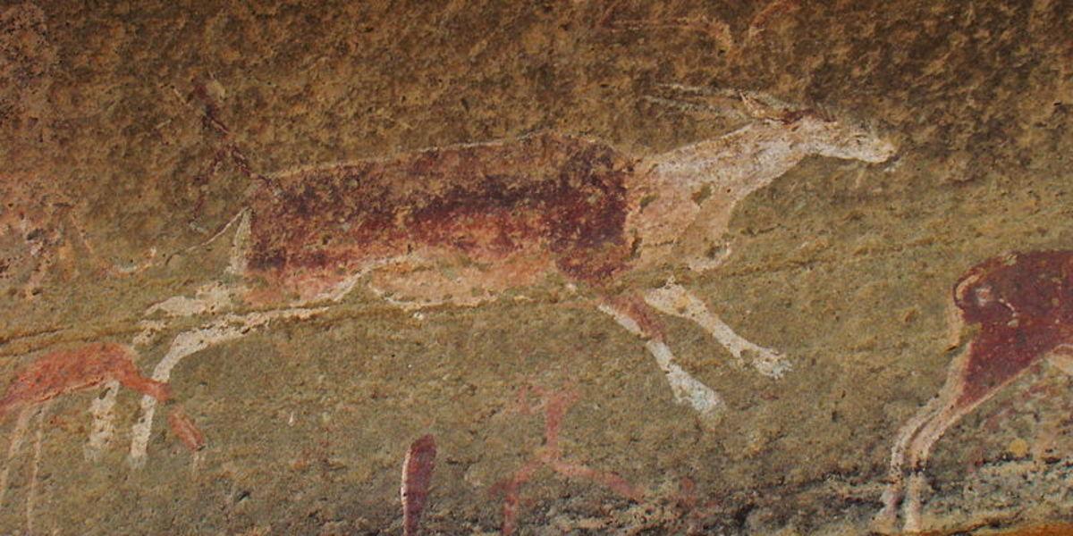 San Rock art, Ukalamba Drakensberge, South Africa, showing an eland.