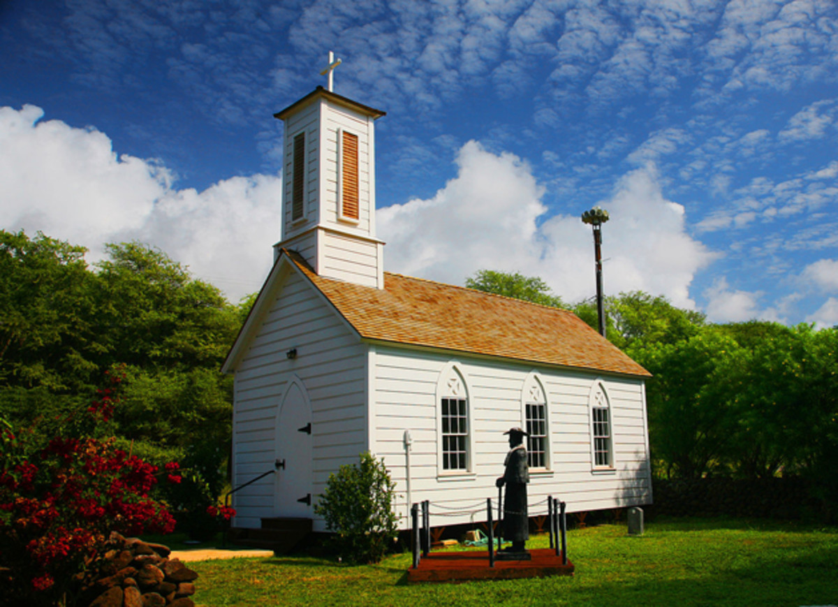 The Church of St. Joseph on Molokai, constructed by Fr. Damien