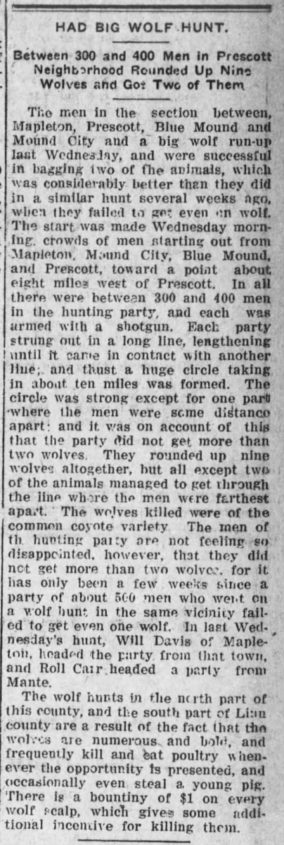 "Clipped from Fort Scott Tribune and The Fort Scott Monitor, 11 Feb 1913, Tue, Page 5 ""The wolves killed were of the common coyote variety,"" according to the newspaper."
