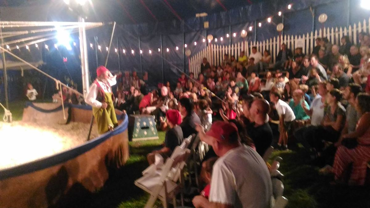 Neno the Clown entertains the audience at Zoppe family circus.