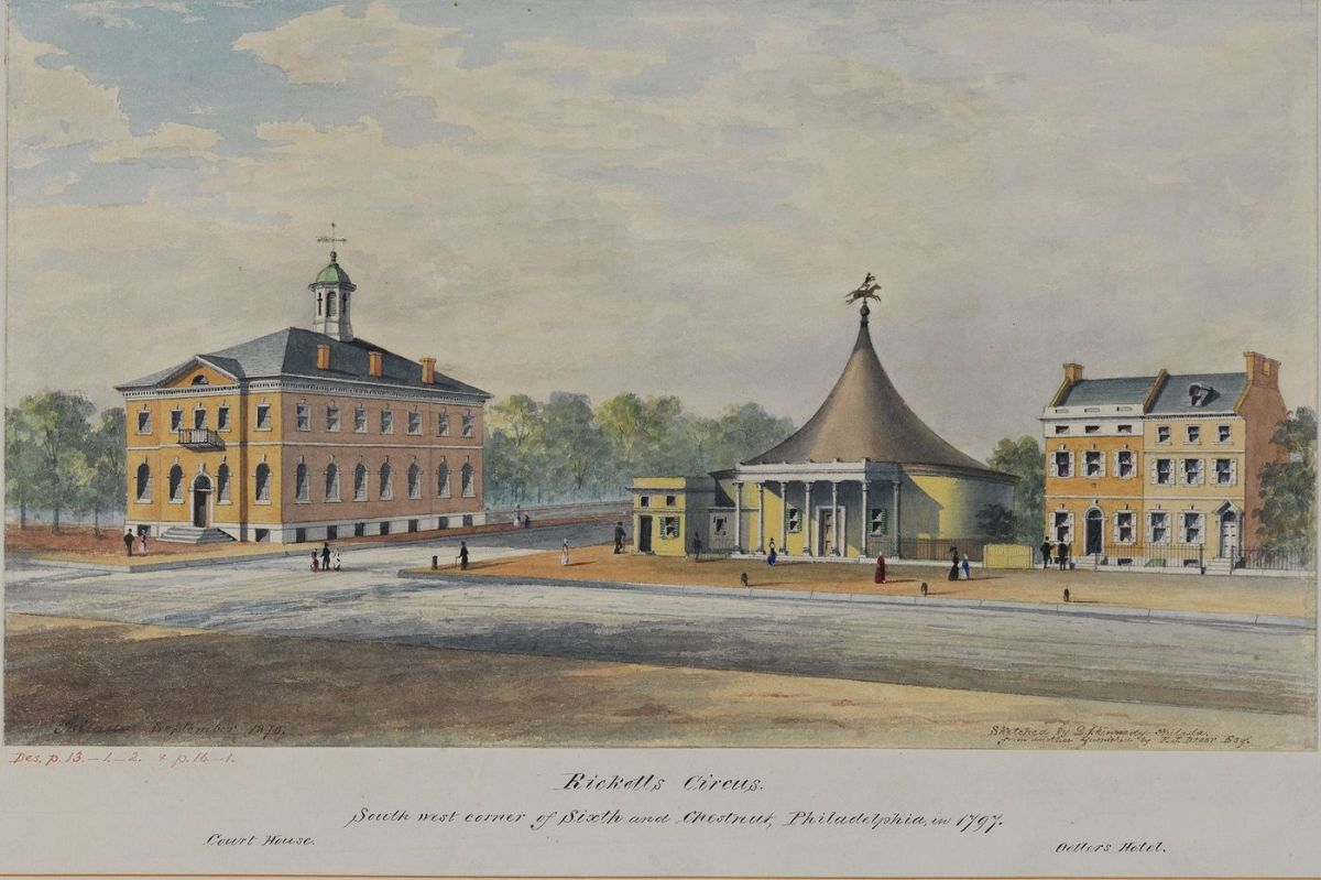 Ricketts' Art Pantheon and Amphitheater (center), located on the corner of Sixth and Chestnut Streets in Philadelphia, Pennsylvania, was opened in 1794. It caught fire on December 17, 1799.