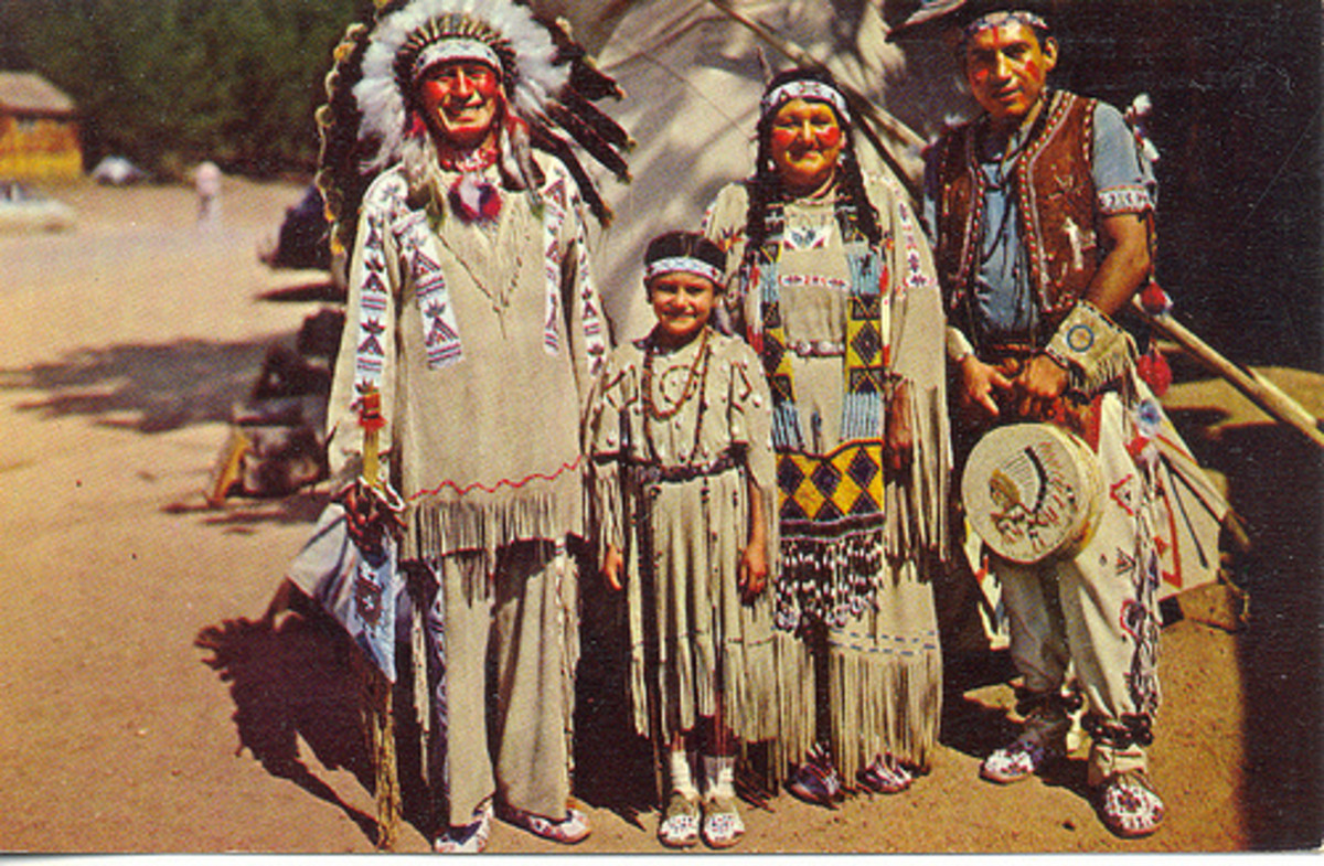 The authentic Cherokee Chief Running Horse and his family.