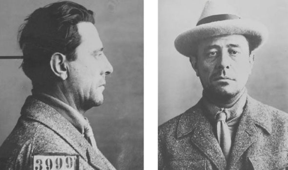 Swiss mug shots of Edgar Laplante in 1925.