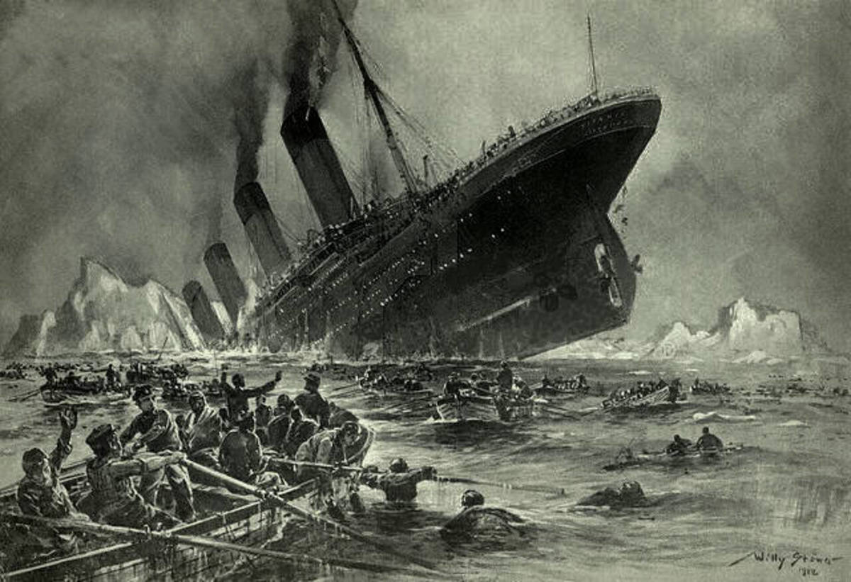 The Sinking of the Titanic as imagined by Willy Stöwer. It incorrectly shows smoke billowing from the fourth funnel, which was fake and only installed for aesthetic reasons.